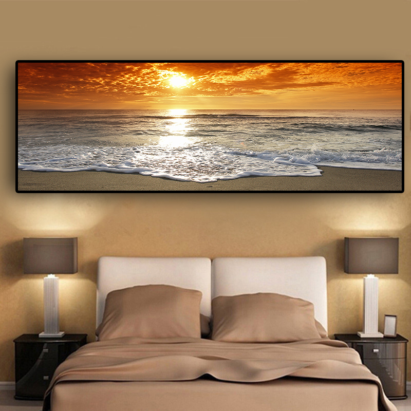 Sunsets Natural Sea Beach Landscape Posters and Prints Canvas Painting Panorama Scandinavian Wall Art Picture for Living Room image