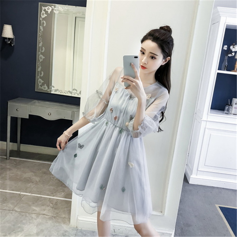 US $14.47 43% OFF|Obese woman love clothing plus size S 4XL 2018 spring and  summer new women\'s dress fashionable elegant gauze party beach dresses-in  ...
