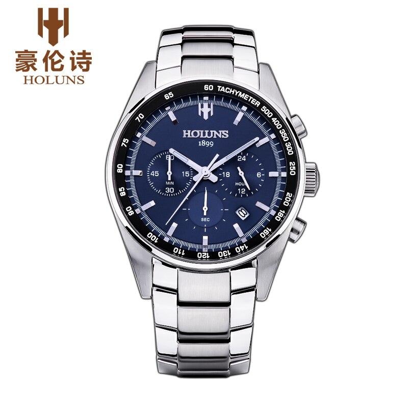 Original Luxury Brand HOLUNS Men's Watches Sapphire Mirror Stainless Steel Multifunction Luminous Waterproof Business Watch Gift