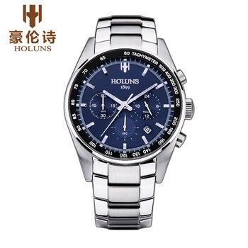 Original Luxus Marke HOLUNS männer Saphir Spiegel Edelstahl Multifunktions Luminous Wasserdicht Business Watch Geschenk