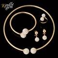 2017 CC Marca de Moda Elegante CZ Conjunto de Jóias Com Diamantes Brilhantes Strass Dubai Banhado A Ouro Beads africanos conjunto de Jóias Conjuntos de Colar