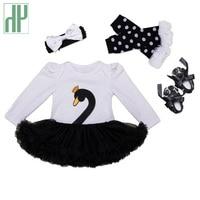 Christmas Baby Girl Clothes 4pcs Swan Infant Clothing Suit Princess Tutu Romper Dress Jumpsuit Party