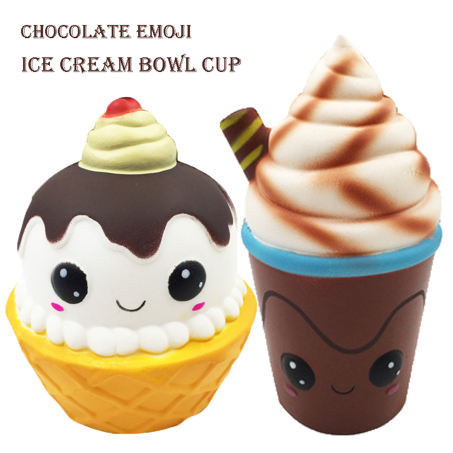 Squishy Chocolate Emoji Face Ice Cream  Jumbo 15cm Slow Rising Soft Squishes Charm Cake Bread Stress Relief Toy Decor Gift