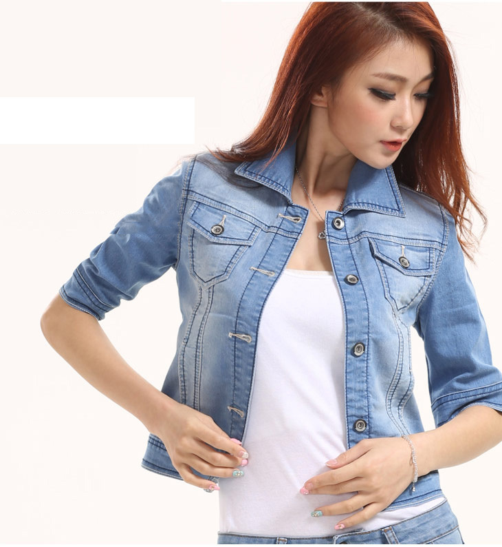 2015 Free Shipping woman casual short denim jacket half sleeve ...