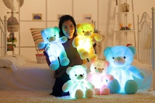 New Music Playing Luminous Stuffed Bear Toy LED Light-Up Plush Doll Glow Teddy  Pillow Auto Color Rotation  Gift