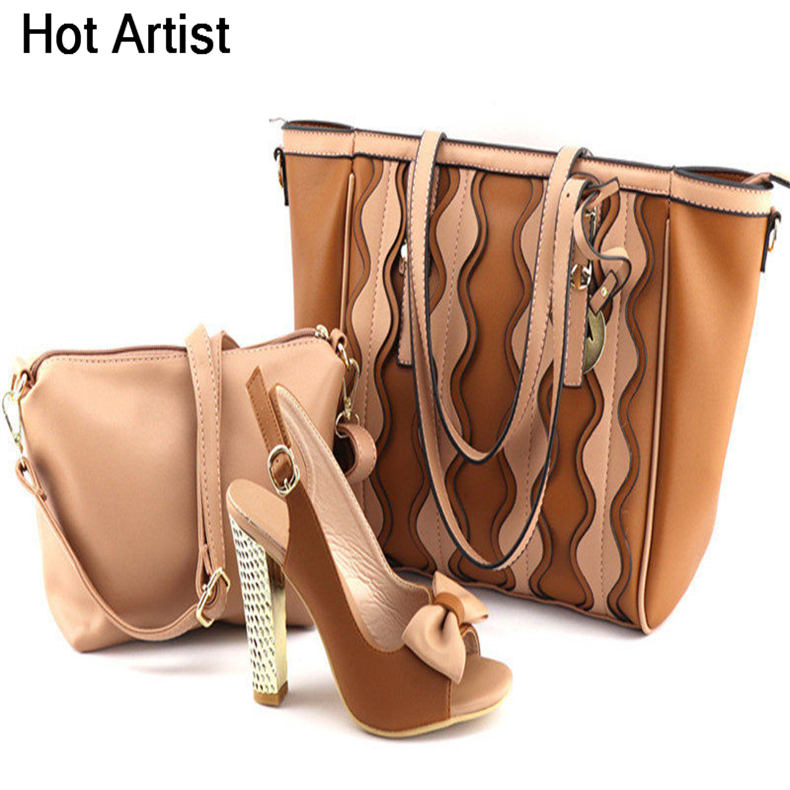 Фотография Hot Artist Hot Selling PU Leather Shoes And Bag Set African Fashion High Heel Shoes And Bag Set For Party Size 38-42 TX-20181