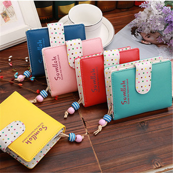 Fashion Candy Colors Women Wallets Short Polka Dots Leather Zipper Small Wallet Purse Cards Holder For Girls Women Laddies Women Wallets
