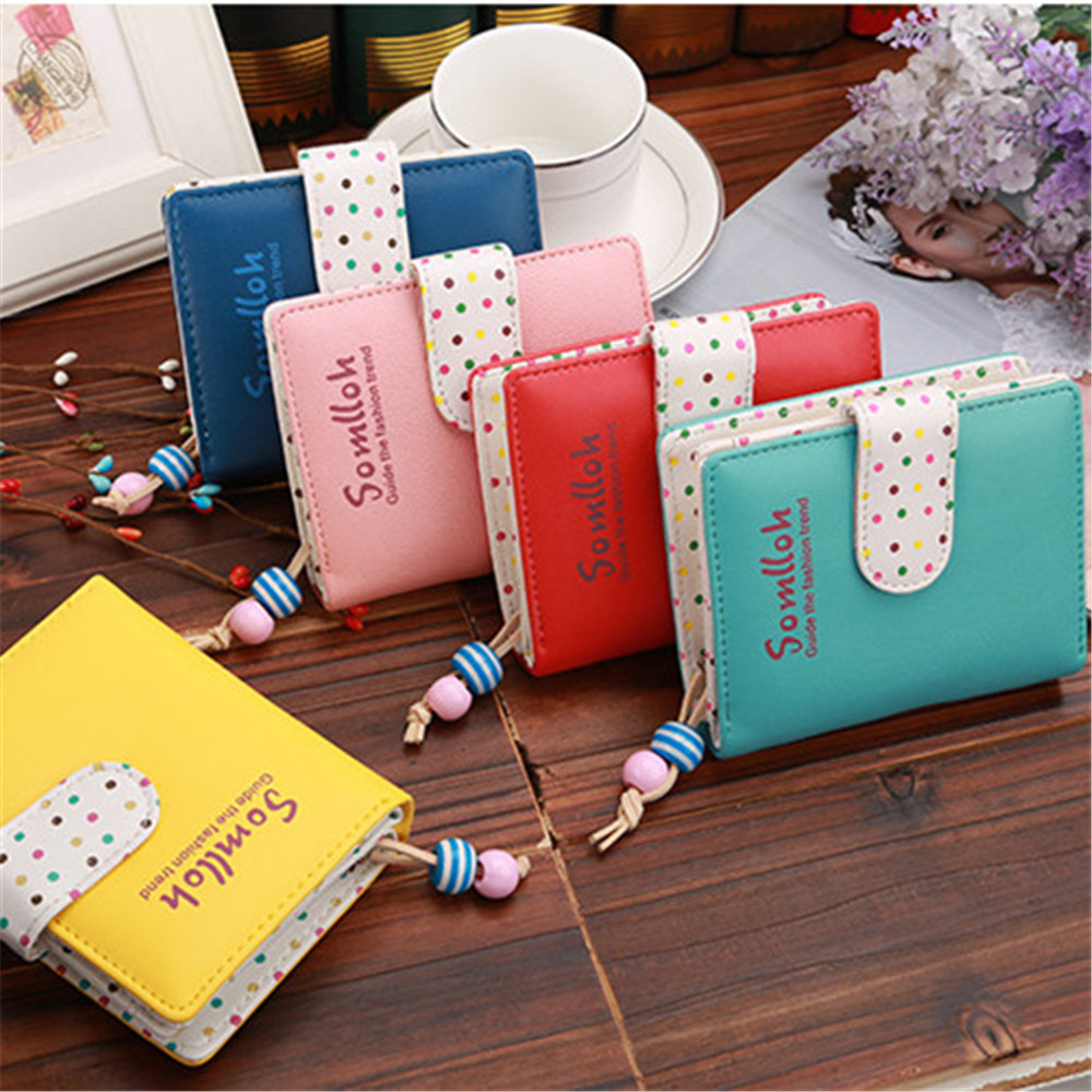 Fashion Candy Colors Women Wallets Short Polka Dots Leather Zipper Small Wallet Purse Cards Holder Women's Purse Coin Bags