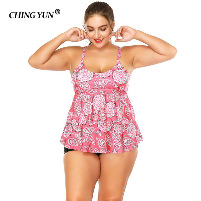 509e4ba9f4 2018 Big size Swimwear woman Swimsuit Pink printing striped sexy ladies Bathing  suit beach camisole Swim suit soft cups Beachwea