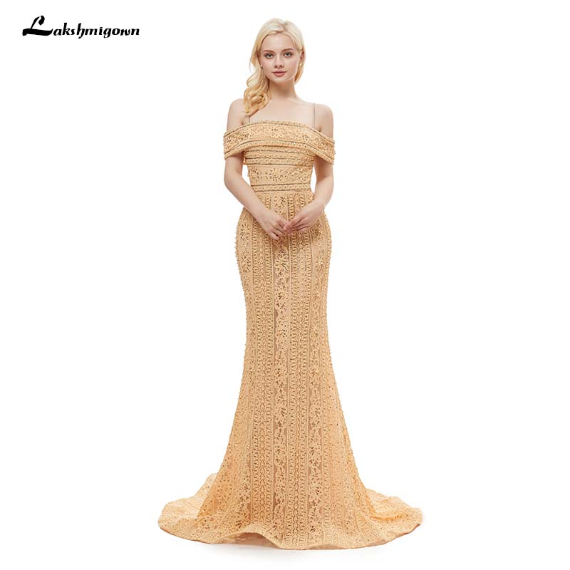 Weddings & Events Gold V-neck Beading Sequined Luxury Evening Dresses Long Mermaid Sleeveless Formal Evening Gown 2019 Real Photo La6075