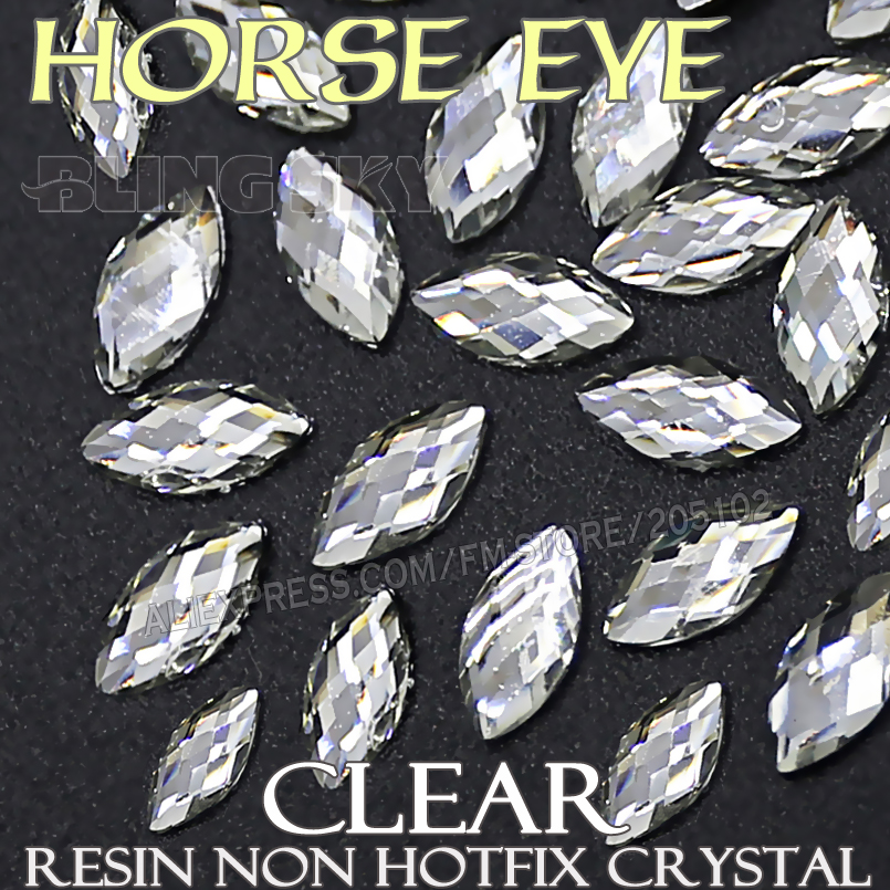 3x6 4x8 6x12 մմ եղունգների բյուրեղների մաքրում AB Horse Eye Resin Non Hotfix Flatback Rhinestone glitters Bling for DIY դեկոր 3D Stones