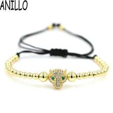 ANILLO Micro Pave Setting 4mm Copper Beads Men Charm Bracelets Animal Leopard Head Braiding Macrame Adjustable Jewelry