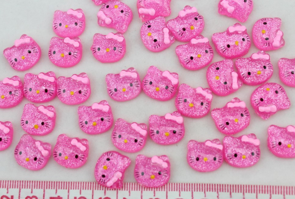 300 hand paint Kitty head glitter Cabochons (14mm) Cell phone decor, embellishment, DIY project supply for Nails, Cellphones