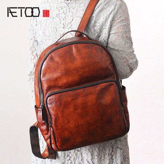 65ab668c1866 AETOO оригинальные новые кожаные рюкзаки ручной работы для мужчин и женщин  винтажные салфетки для мужчин и