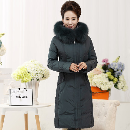 2015 Hot New Winter Thicken Warm Woman Down jacket Coat Parkas Outerwear Hooded Fox Fur collar Long Brand Plus Size 4XXXXL Cold x long woman warm winter down coat camouflage brand really fur collar hood print down jackets with pockets size m 3xl