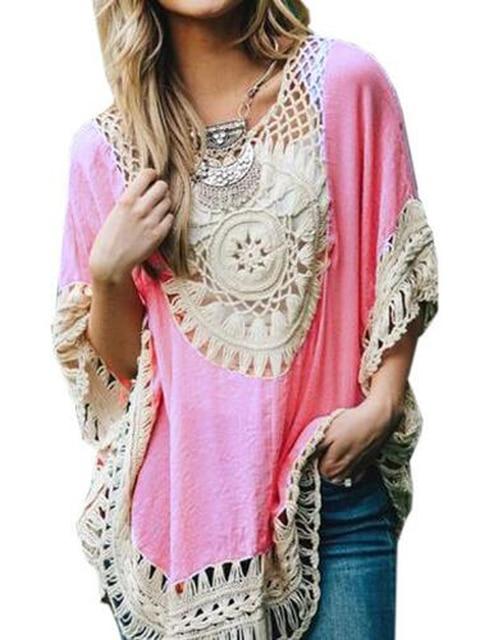 Sheer floral patrón crochet Boho mujer blusa suelta verano oversized ...