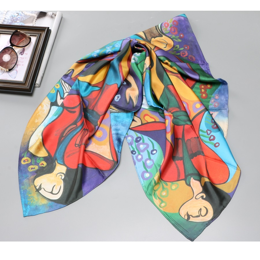 Oil Painting Style 100% Silk Scarf Hijab Head Scarves For Women Large Square Silk Scarves Shawl Foulard 35