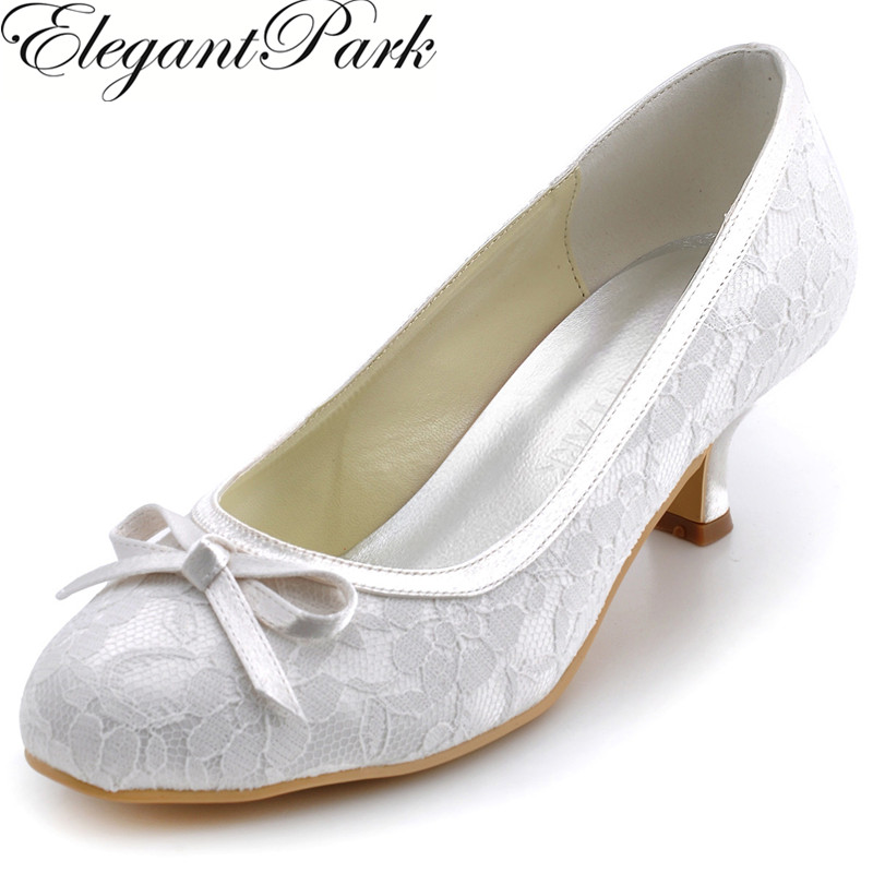New Arrival Round Toe White Lace Upper Shoes for Brides WM-017 Shallow Spool Heels 2 Wedding Pumps Formal Evening Woman Shoes