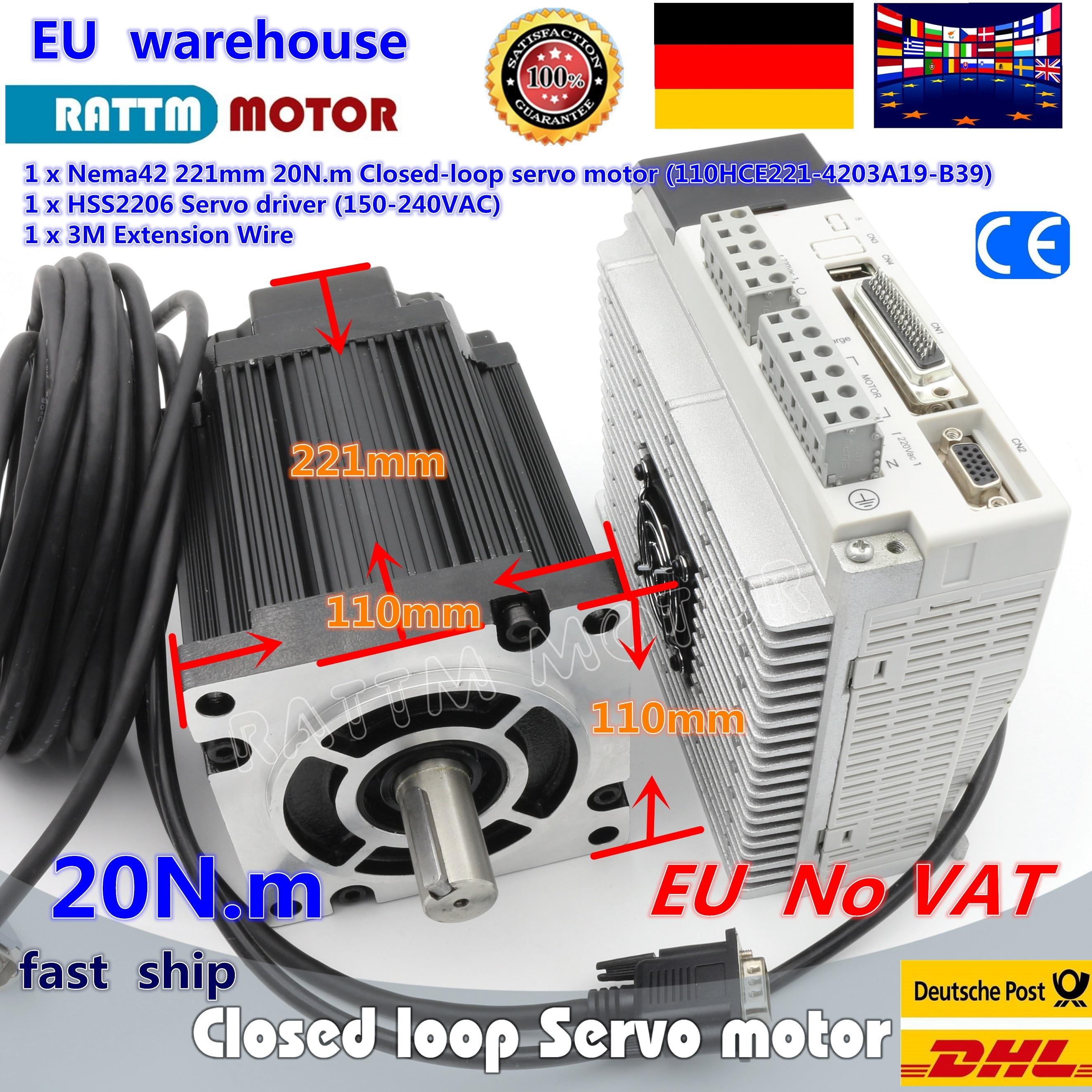 DE navio Nema42 Closed-loop Servo motor 20N. m/2880oz-in 110 Híbrido stepper motor & 3-fase Passo-Motorista servo Kit Controlador CNC