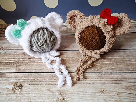 Hot Sale Kids Cap bear Baby Yarns Hand Knit Baby Hats Beanies 0-3month 100% Handmade Bonnet newborn Photography Prop
