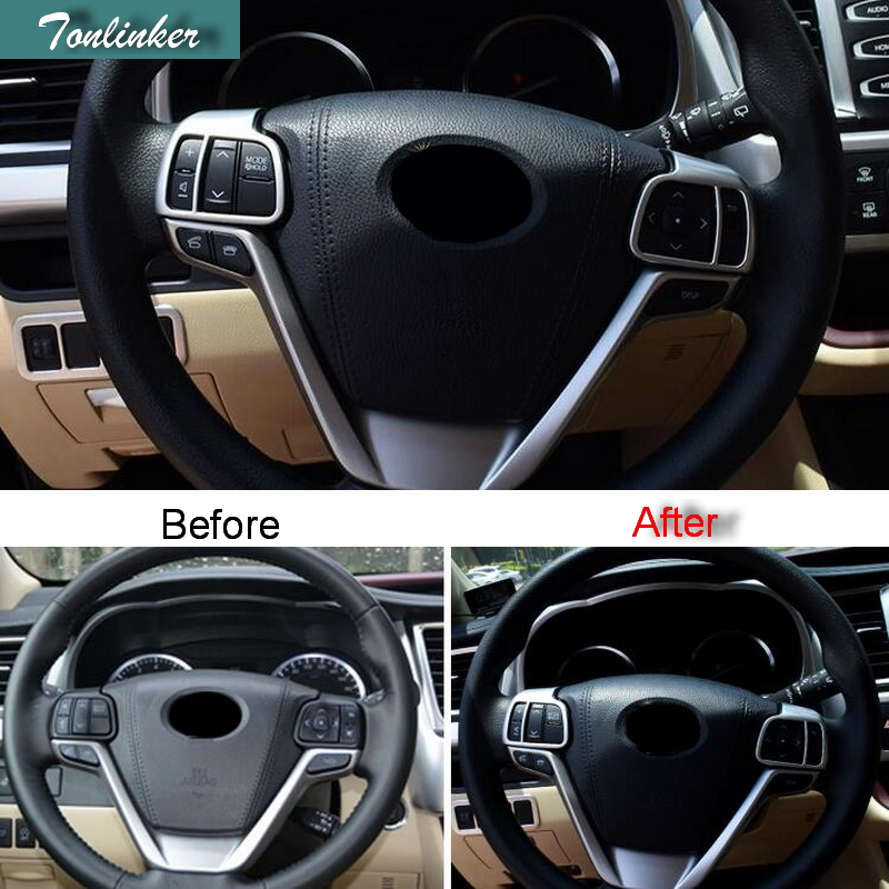 Tonlinker 2 PCS DIY Car styling ABS chrome Escutcheon steering wheel steering Stickers for TOYOTA HIGHLANDER 2015 accessories