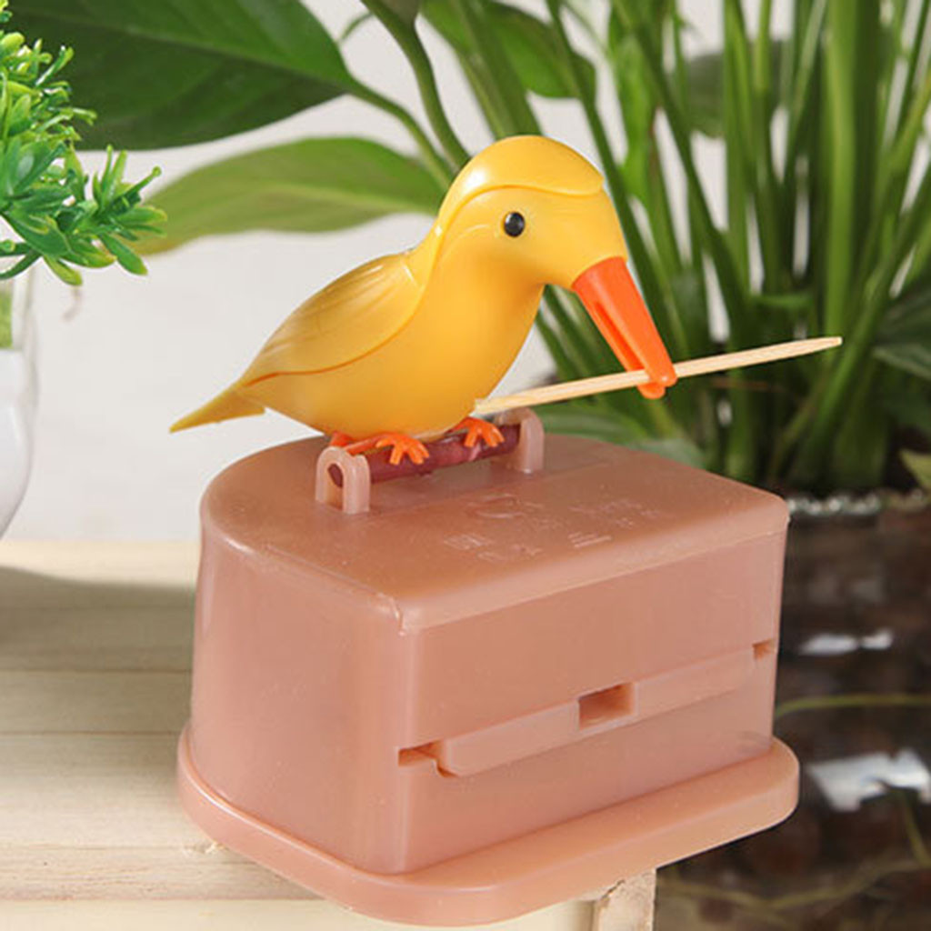 Cute Hummingbird Toothpick Dispenser Gag Gift Cleaning Teeth High quality material Automatic bird toothpick box 2019 new #20(China)