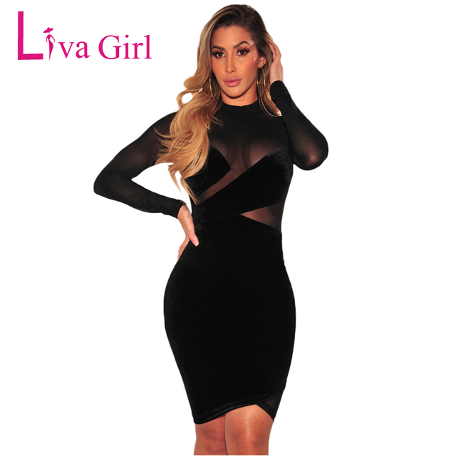 f30fbbc1eae0 Liva Girl Womens Sexy Night Club Dress Long Sleeve Black Patchwork Mesh  Party Dresses Clubwear Bodycon Dress Women Midi Dress