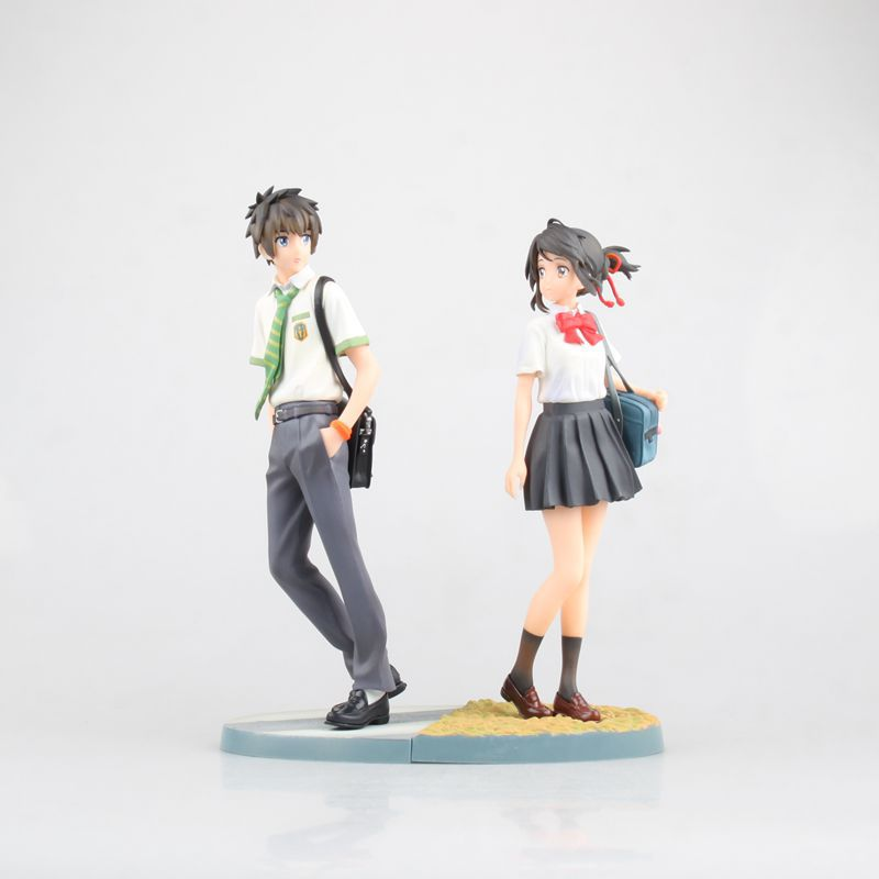 Anime Your name Kiminonawa Tachibana Taki Miyamizu Mitsuha PVC Action Figure Collectible Model doll toy 22cm (2pcs/set)