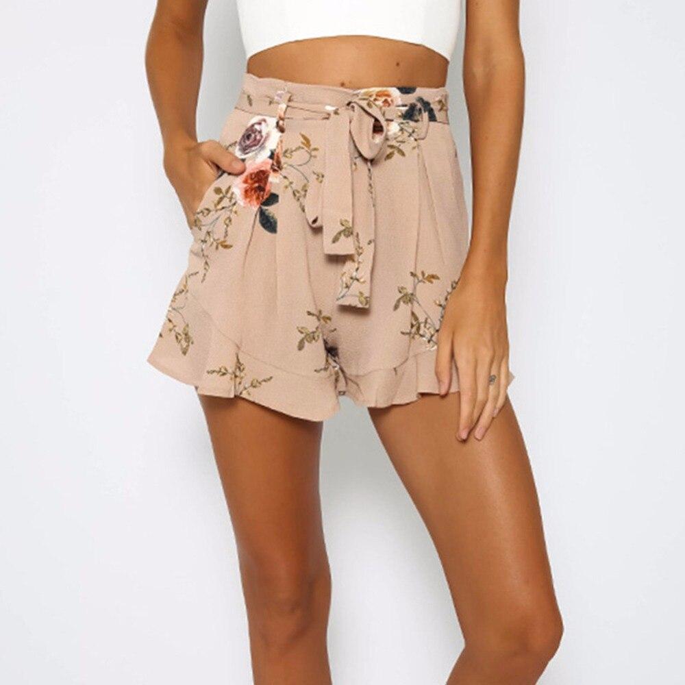 US'US Womens Summer Shorts Print  Floral Drawstring Lotus Leaf Pendulum Shorts Women Casual Short Feminino Kpop Short Mujer