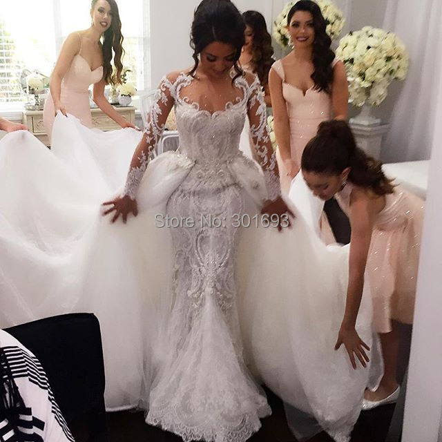 Elegant Two Pieces Lace Arab Wedding Dress Sheath 2017: Gorgeous Elegant OWD804 Sexy Mermaid Long Sleeve Two Piece