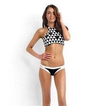 New Design Hang High Neck Top Bikinis Set Geometric Print Retro Swimwear Women Swimsuit Cheeky Pants