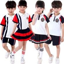 Été enfants de l'école vêtements et manches Courtes chœur de l'école primaire étudiants lecture Britannique uniformes scolaires des élèves