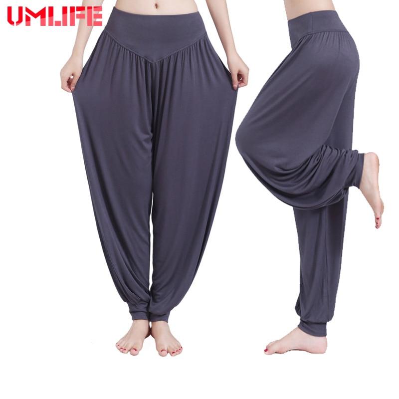 UMLIFE Pantalons De Yoga Femmes Grande Taille Sport Pantalon Bloomer Danse Taichi Bonbons Couleur Pleine Longueur Pantalons de Remise En Forme Vente Chaude Respirant
