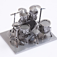 Freeshipping Piececool Drum Set P032 S DIY Toy 3D Laser Cut Models Metal Puzzle For Kids
