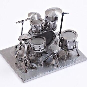 3D Metal Nano Puzzle Drum Set Model Kits P032-S DIY Toy 3D Laser Cut Assemble Jigsaw Toys transformers cassette tape