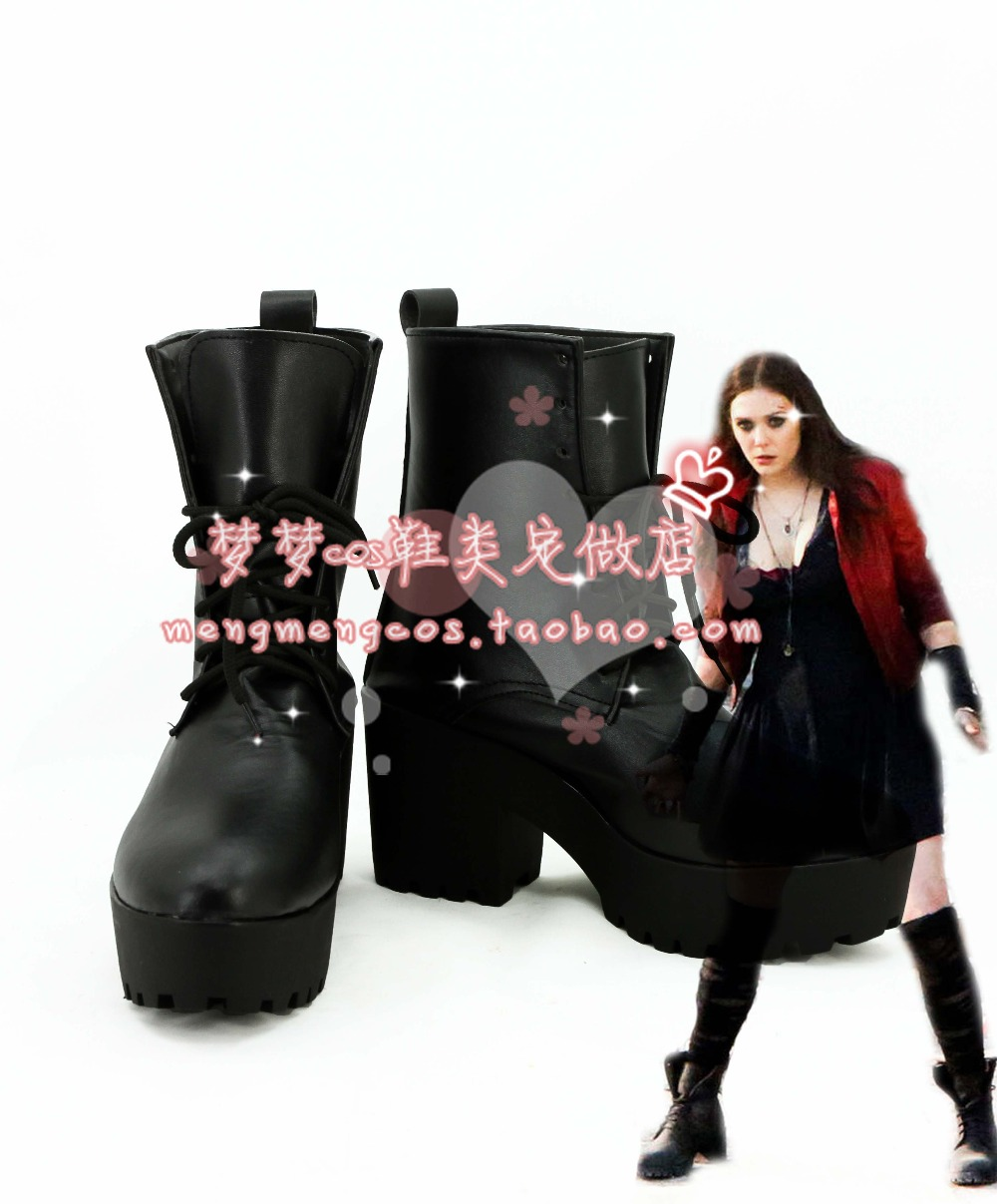 Avengers Age of Ultron Wanda Django Maximoff Scarlet Witch cosplay Shoes Boots Custom Made
