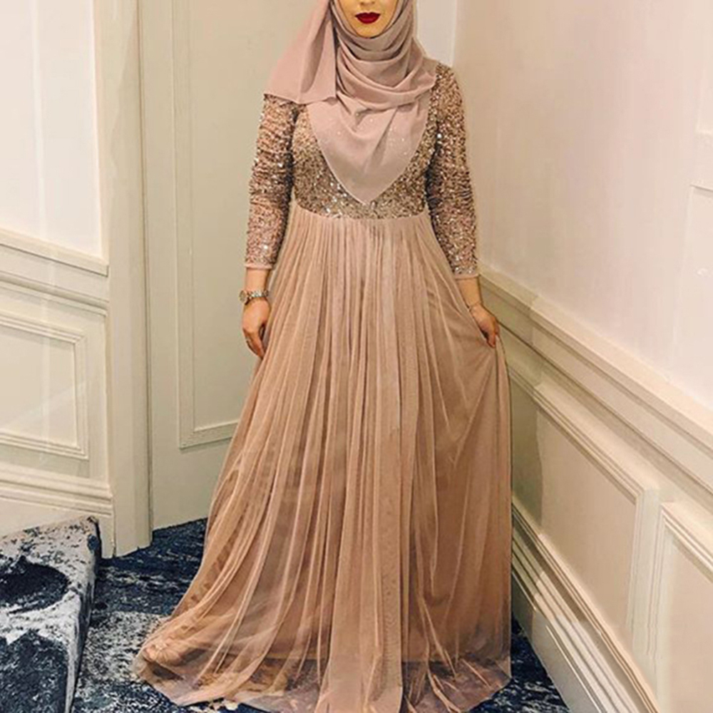 New Arrival Women Muslim High Waist  Stitching Sequins Maxi Dress Casual Long Sleeve Party Dresses Streetwear Slim Dress