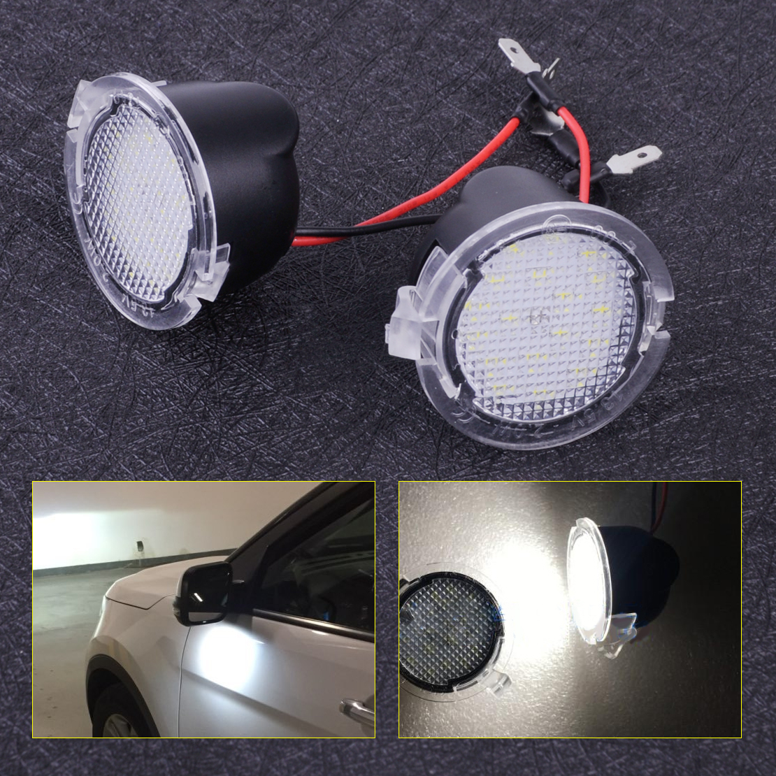 CITALL 2PCS High Power White LED Side Mirror Puddle Lights Fit For Lincoln  Navigator MKS MKT MKZ MKX LS