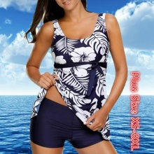 купить Women Tankini with Shorts Retro Print Floral Swimsuit Ladies Bikini Set Two Pieces Swimwear Tankini Beachwear Swimming Shorts по цене 810.88 рублей