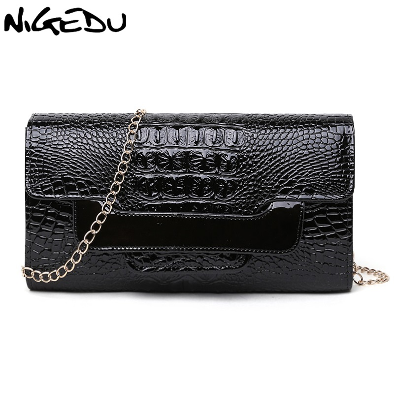 NIGEDU Brand Crocodile clutch purse Luxury Party evening bags Patent Leather Shoulder Bag for women Chain Messenger Bag Clutches