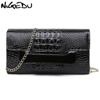 Fashion Patent Leather Crocodile Ladies Clutch Purse High End Alligator Evening Bags And Clutches Chain Women