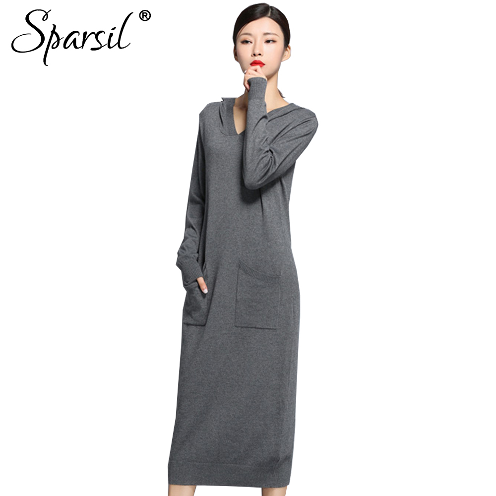 Sparsil Women Autumn Winter Knitted Wool Dresses Long Sleeve Mid-Calf Hooded Solid Pockets Sweater Dress Loose Female Vestido