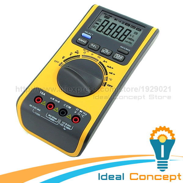 Multimeter Test Leads Digital Auto Range & Manual CD Software Multifunction Tool Voltmeter Thermometer Resistance Capacitance