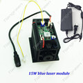 High power 15 w 450nm Blauwe Laser hoofd TTL PWM 12 v Focus Laser graveur machine 445nm 15000 mw Verstelbare blauw module DIY