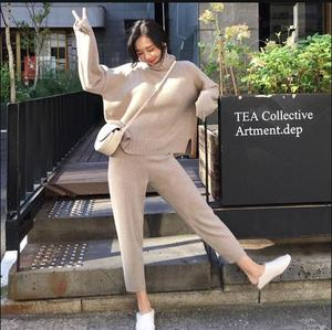 Image 3 - Spring Winter Knitted Tracksuit Turtleneck  Sweatshirts Fashion Women Suit Clothing 2 Piece Set  Pant Female