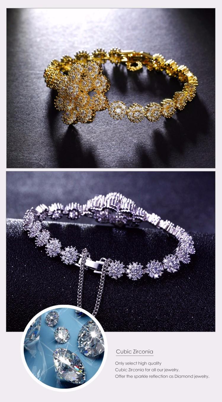Sparkling zirconia flower Luxury bracelet femme