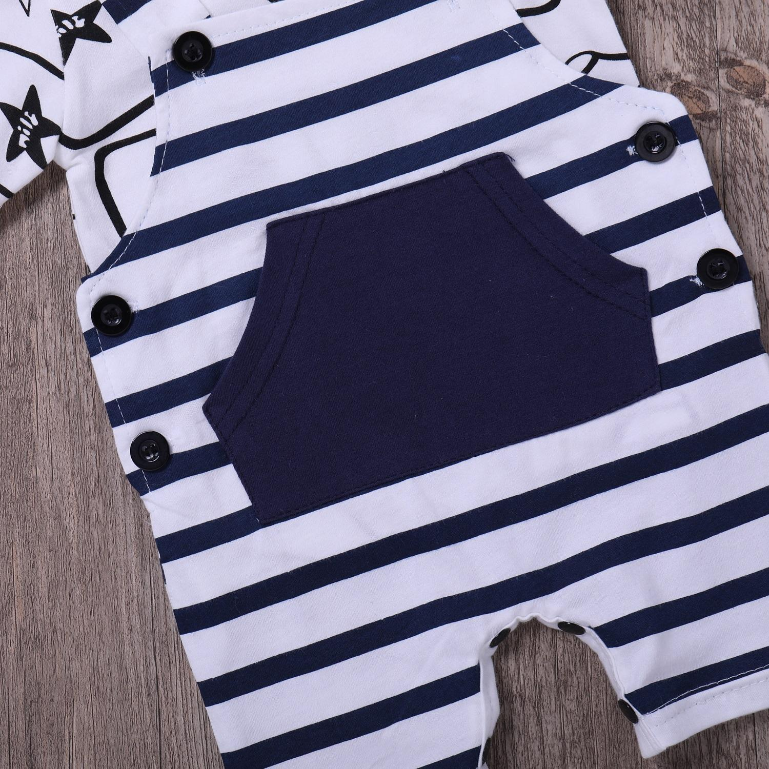 26cb6d1bf300 1 Set Infant Clothing Boys Baby T shirt and Dungaree Shorts Newborn ...