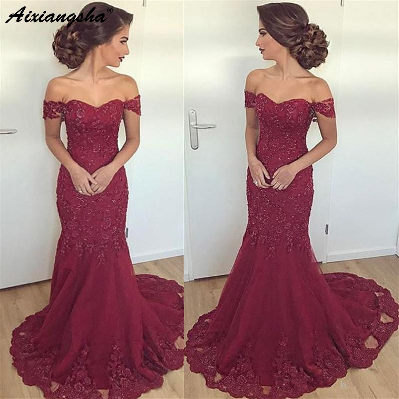 Burgundy Muslim   Evening     Dresses   2019 Mermaid Off The Shoulder Tulle Lace Islamic Dubai Saudi Arabic Long   Evening   Gown Prom