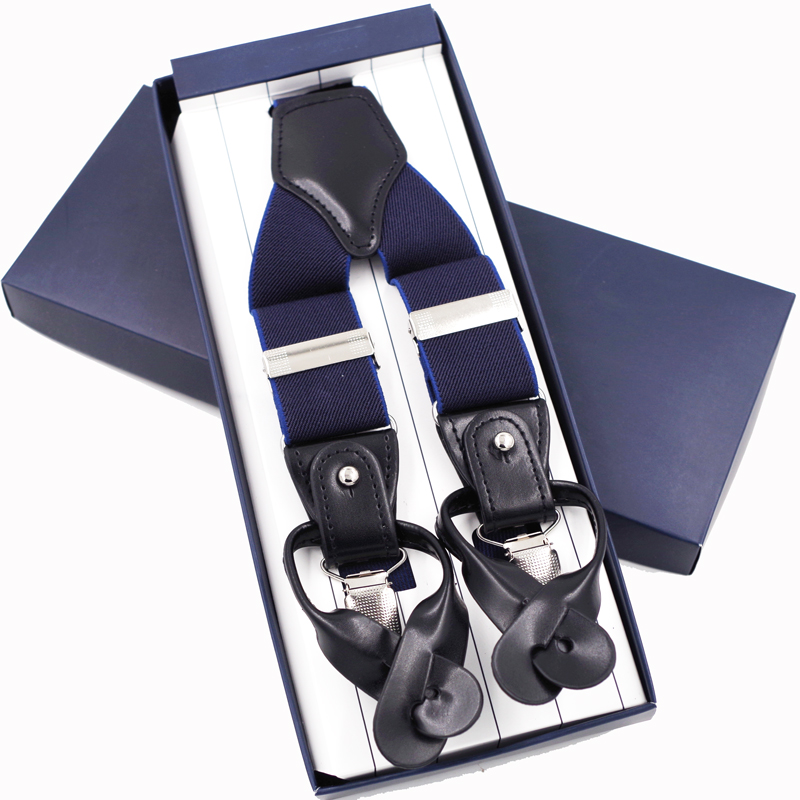 JIERKU Man's Suspenders Man's Braces 3Clips Suspensorio Buttons Suspenders Trousers Strap Father/Husband's Gift