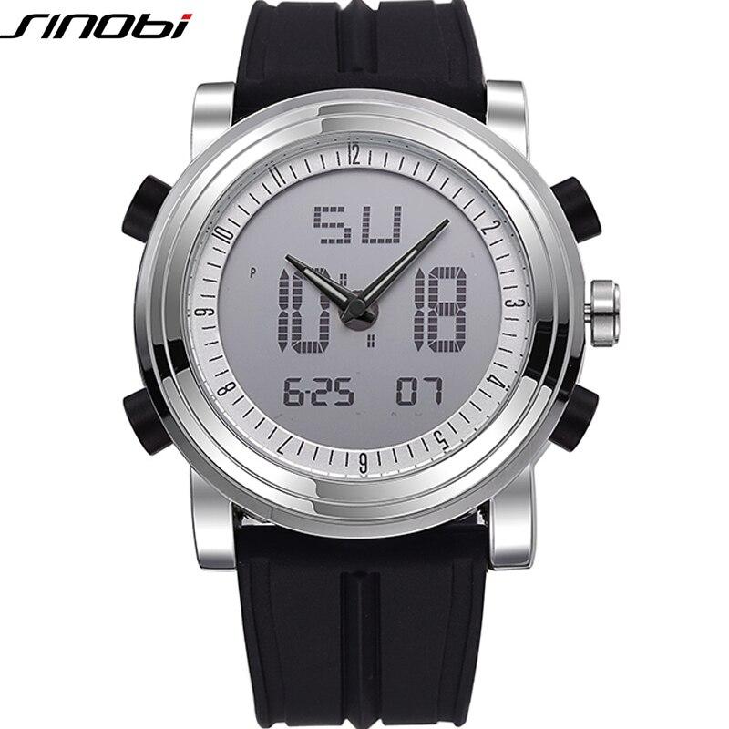 Sinobi Top Brand Luxury Men Watch 2020 Fashion Sport Watch Men Dual Display Quartz Watches Silicone Watch Relogios Masculinos